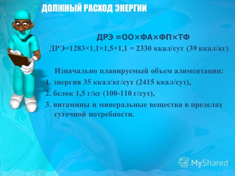 ДРЭ =ОО×ФА×ФП×ТФ ДРЭ=1283×1,1×1,5×1,1 = 2330 ккал/сут (39 ккал/кг) Изначально планируемый объем алиментации: 1. энергия 35 ккал/кг/сут (2415 ккал/сут), 2. белок 1,5 г/кг (100-110 г/сут), 3. витамины и минеральные вещества в пределах суточной потребно