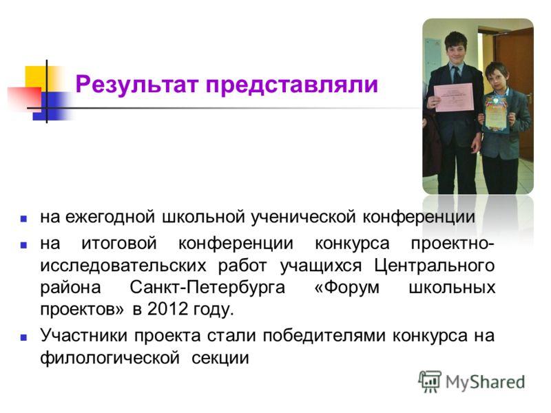 Результат представляли на ежегодной школьной ученической конференции на итоговой конференции конкурса проектно- исследовательских работ учащихся Центрального района Санкт-Петербурга «Форум школьных проектов» в 2012 году. Участники проекта стали побед