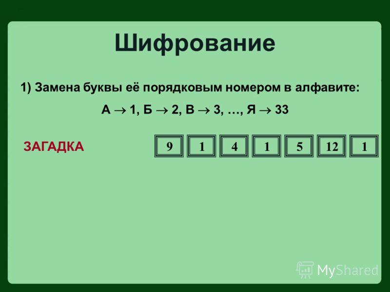 1) Замена буквы её порядковым номером в алфавите: А 1, Б 2, В 3, …, Я 33 ЗАГАДКА Шифрование 91415121