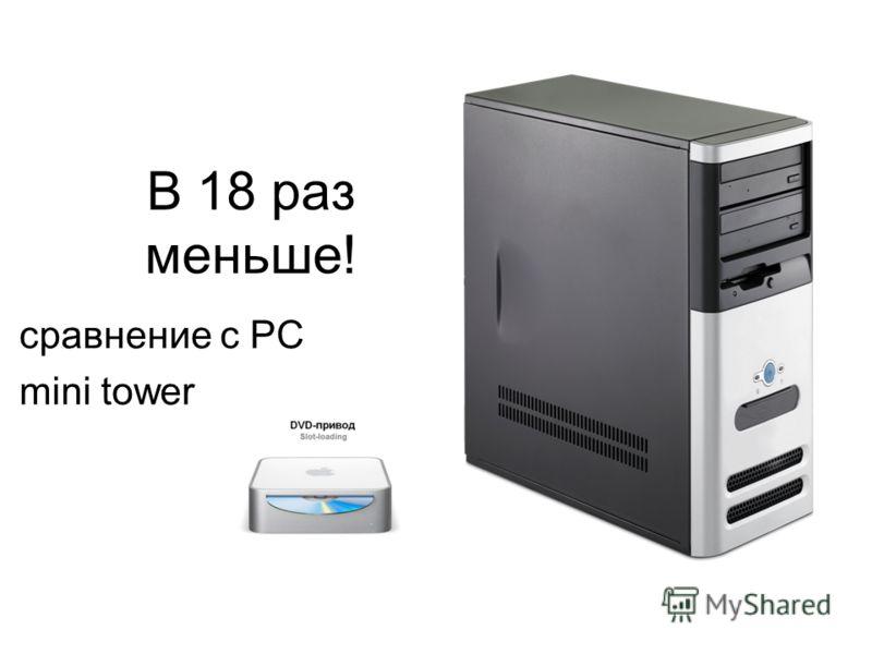В 18 раз меньше! сравнение с PC mini tower