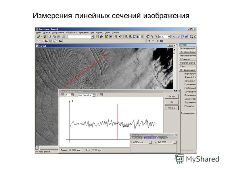 Измерения линейных сечений изображения