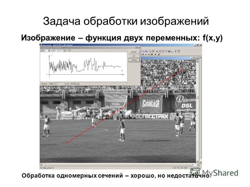 Задача обработки изображений Изображение – функция двух переменных: f(x,y) Обработка одномерных сечений – хорошо, но недостаточно