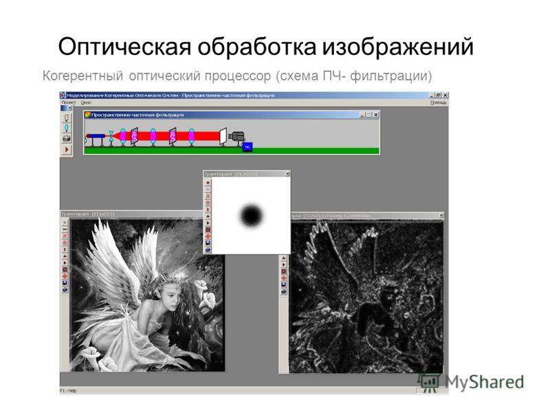 Оптическая обработка изображений Когерентный оптический процессор (схема ПЧ- фильтрации)