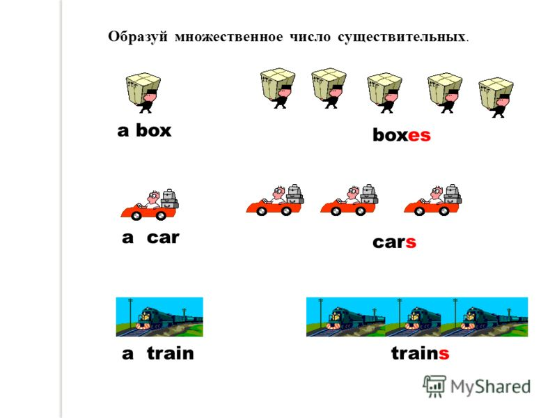 a box boxes a car cars a traintrains Образуй множественное число существительных.
