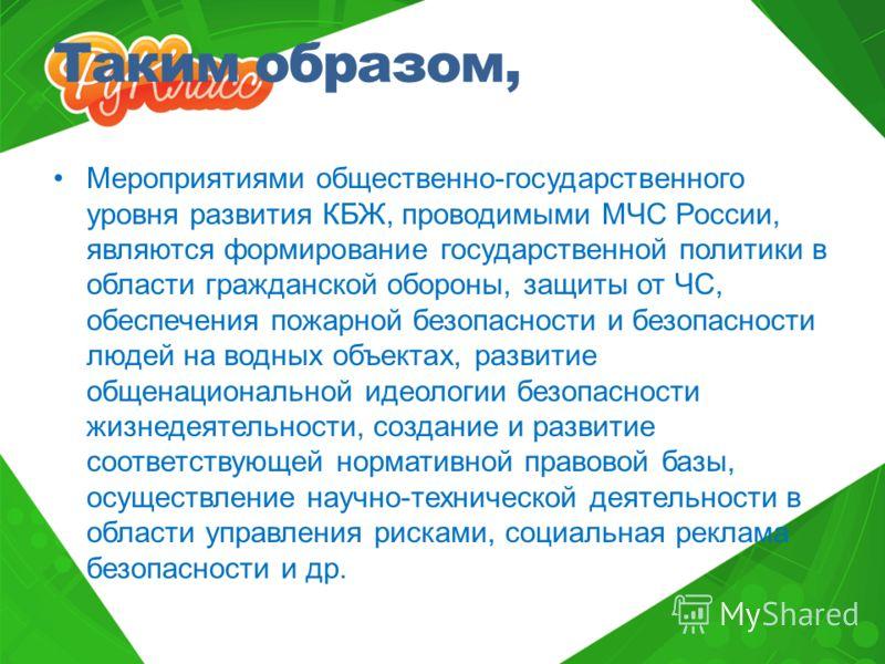 Таким образом, Мероприятиями общественно-государственного уровня развития КБЖ, проводимыми МЧС России, являются формирование государственной политики в области гражданской обороны, защиты от ЧС, обеспечения пожарной безопасности и безопасности людей