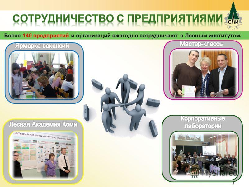 6 Более 140 предприятий и организаций ежегодно сотрудничают с Лесным институтом.