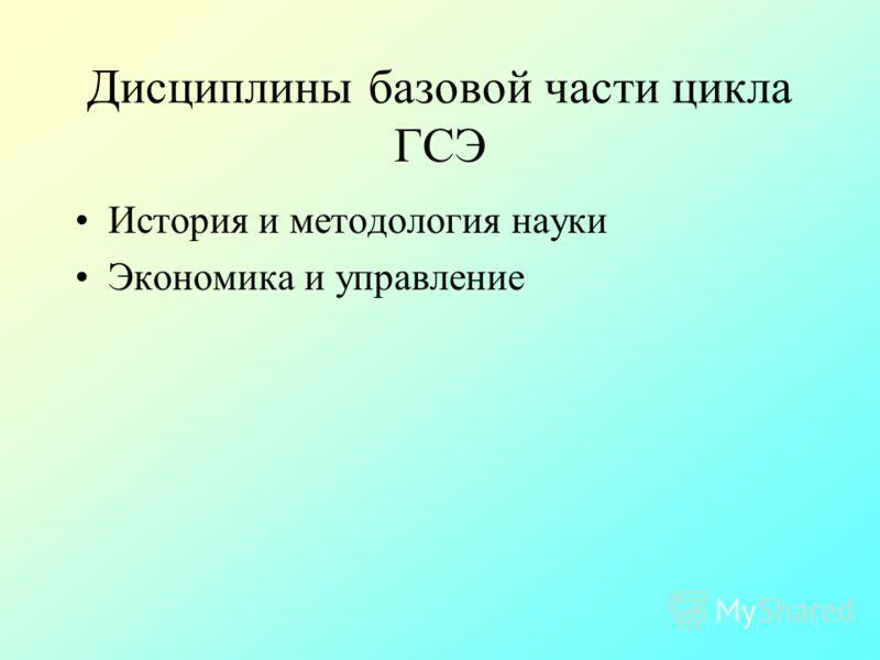 Дисциплины базовой части цикла ГСЭ История и методология науки Экономика и управление