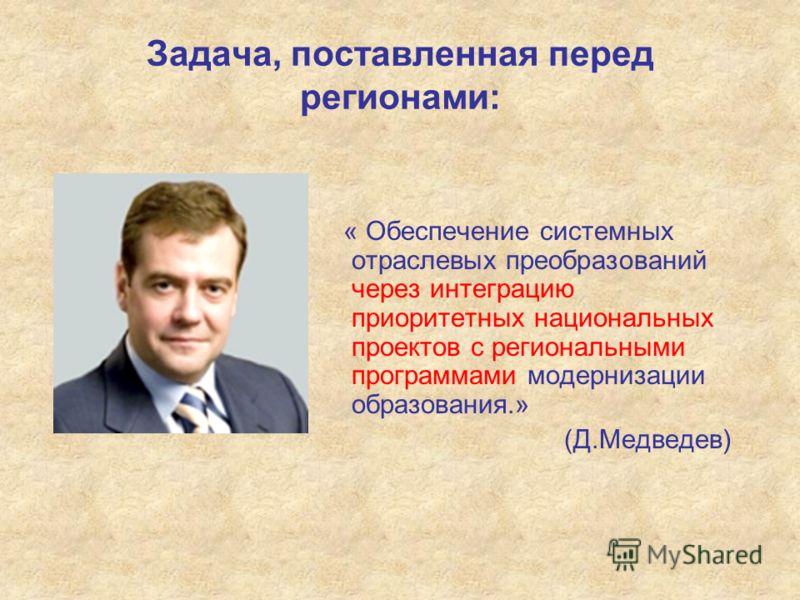 Задача, поставленная перед регионами: « Обеспечение системных отраслевых преобразований через интеграцию приоритетных национальных проектов с региональными программами модернизации образования.» (Д.Медведев)