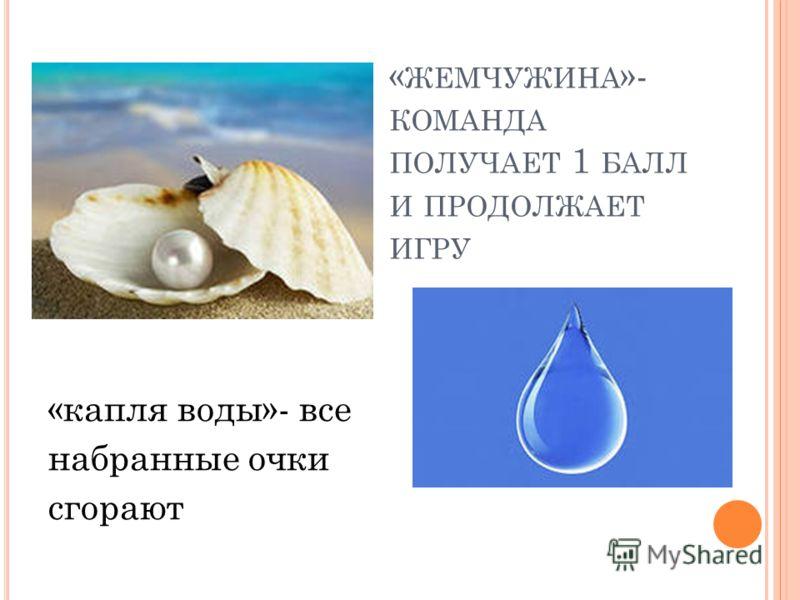 « ЖЕМЧУЖИНА »- КОМАНДА ПОЛУЧАЕТ 1 БАЛЛ И ПРОДОЛЖАЕТ ИГРУ «капля воды»- все набранные очки сгорают
