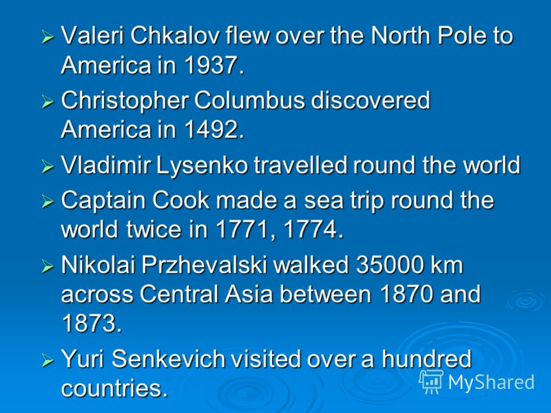 Valeri Chkalov flew over the North Pole to America in 1937. Valeri Chkalov flew over the North Pole to America in 1937. Christopher Columbus discovered America in 1492. Christopher Columbus discovered America in 1492. Vladimir Lysenko travelled round