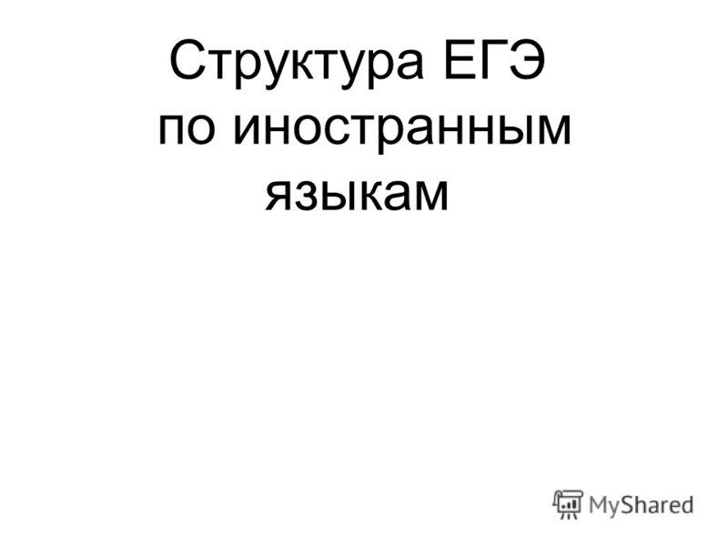 Структура ЕГЭ по иностранным языкам