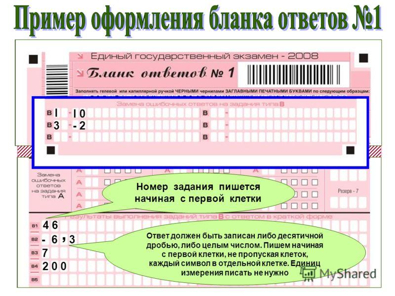 0 2I 0I 0 M А Т Е М А Т И К 4 6 - 6- 6, 3 7 2 0 02 0 0 Номер задания пишется начиная с первой клетки Ответ должен быть записан либо десятичной дробью, либо целым числом. Пишем начиная с первой клетки, не пропуская клеток, каждый символ в отдельной кл