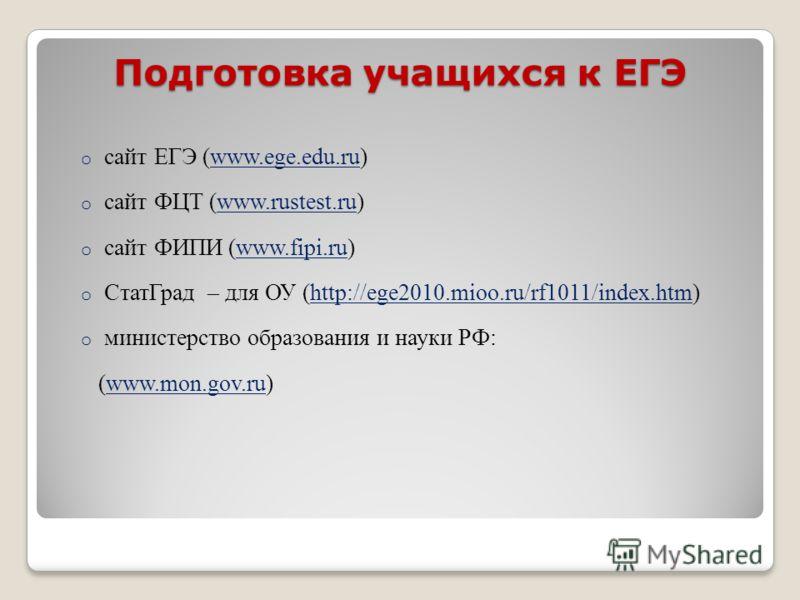 Подготовка учащихся к ЕГЭ o сайт ЕГЭ (www.ege.edu.ru)www.ege.edu.ru o сайт ФЦТ (www.rustest.ru)www.rustest.ru o сайт ФИПИ (www.fipi.ru)www.fipi.ru o СтатГрад – для ОУ (http://ege2010.mioo.ru/rf1011/index.htm)http://ege2010.mioo.ru/rf1011/index.htm o