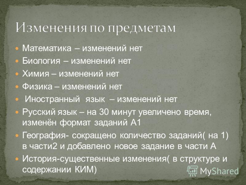 Математика – изменений нет Биология – изменений нет Химия – изменений нет Физика – изменений нет Иностранный язык – изменений нет Русский язык – на 30 минут увеличено время, изменён формат заданий А1 География- сокращено количество заданий( на 1) в ч
