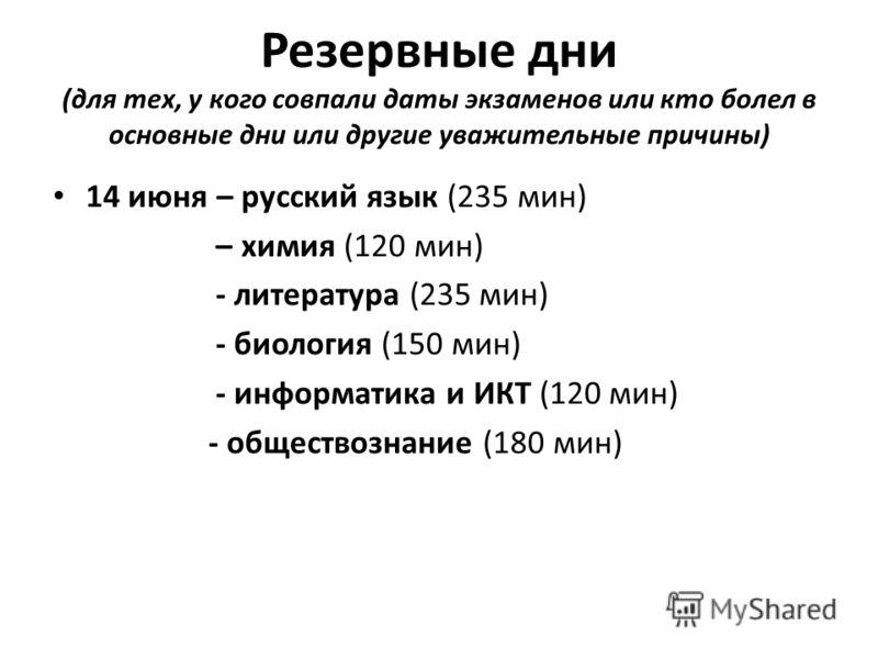 Резервные дни (для тех, у кого совпали даты экзаменов или кто болел в основные дни или другие уважительные причины) 14 июня – русский язык (235 мин) – химия (120 мин) - литература (235 мин) - биология (150 мин) - информатика и ИКТ (120 мин) - обществ