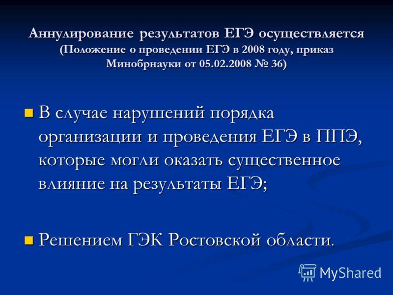 Аннулирование результатов ЕГЭ осуществляется (Положение о проведении ЕГЭ в 2008 году, приказ Минобрнауки от 05.02.2008 36) В случае нарушений порядка организации и проведения ЕГЭ в ППЭ, которые могли оказать существенное влияние на результаты ЕГЭ; В