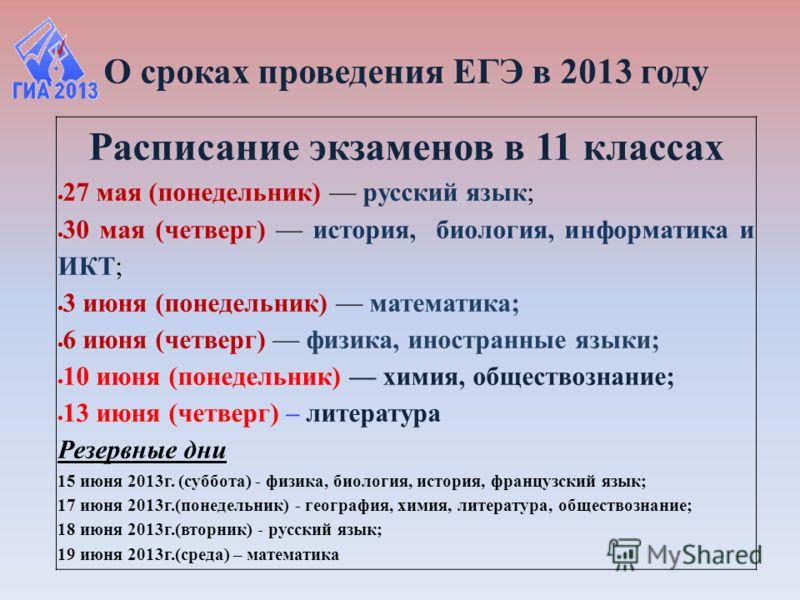 О сроках проведения ЕГЭ в 2013 году Расписание экзаменов в 11 классах 27 мая (понедельник) русский язык; 30 мая (четверг) история, биология, информатика и ИКТ; 3 июня (понедельник) математика; 6 июня (четверг) физика, иностранные языки; 10 июня (поне