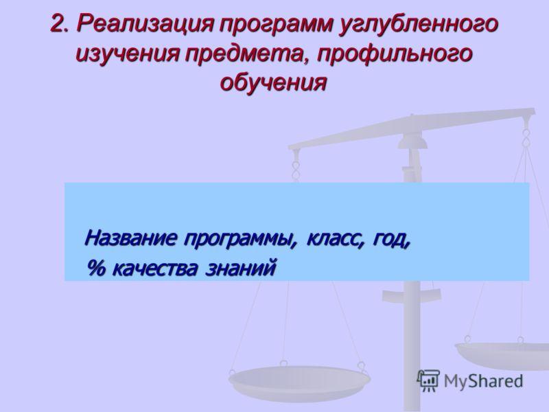 2. Реализация программ углубленного изучения предмета, профильного обучения Название программы, класс, год, Название программы, класс, год, % качества знаний % качества знаний
