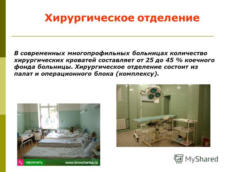В современных многопрофильных больницах количество хирургических кроватей составляет от 25 до 45 % коечного фонда больницы. Хирургическое отделение состоит из палат и операционного блока (комплексу). Хирургическое отделение