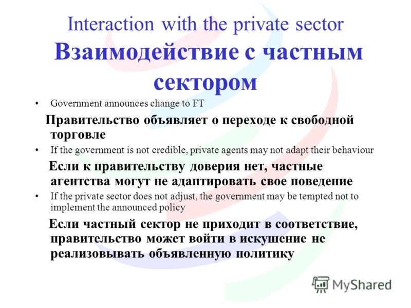 Interaction with the private sector Взаимодействие с частным сектором Government announces change to FT Правительство объявляет о переходе к свободной торговле If the government is not credible, private agents may not adapt their behaviour Если к пра
