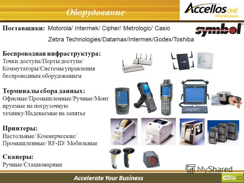 Accelerate Your Business Введение в систему Оборудование Поставщики: Motorola/ Intermek/ Cipher/ Metrologic/ Casio Zebra Technologies/Datamax/Intermek/Godex/Toshiba Беспроводная инфраструктура: Точки доступа/Порты доступа/ Коммутаторы/Системы управле
