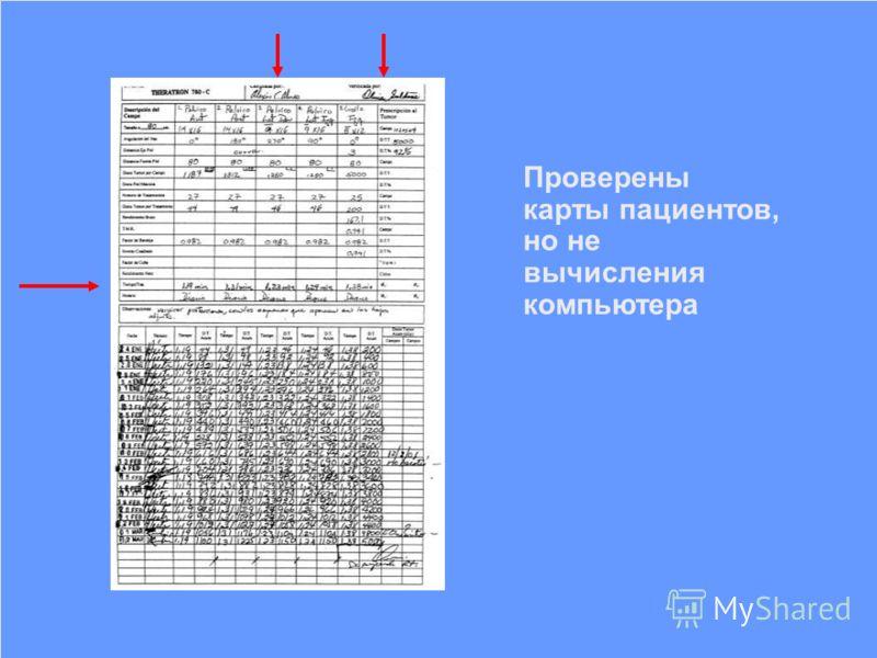 IAEA Предотвращение ошибок в лучевой терапии11 Проверены карты пациентов, но не вычисления компьютера