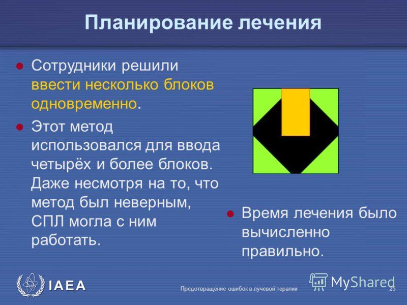 IAEA Предотвращение ошибок в лучевой терапии25 l Сотрудники решили ввести несколько блоков одновременно. l Этот метод использовался для ввода четырёх и более блоков. Даже несмотря на то, что метод был неверным, СПЛ могла с ним работать. l Время лечен