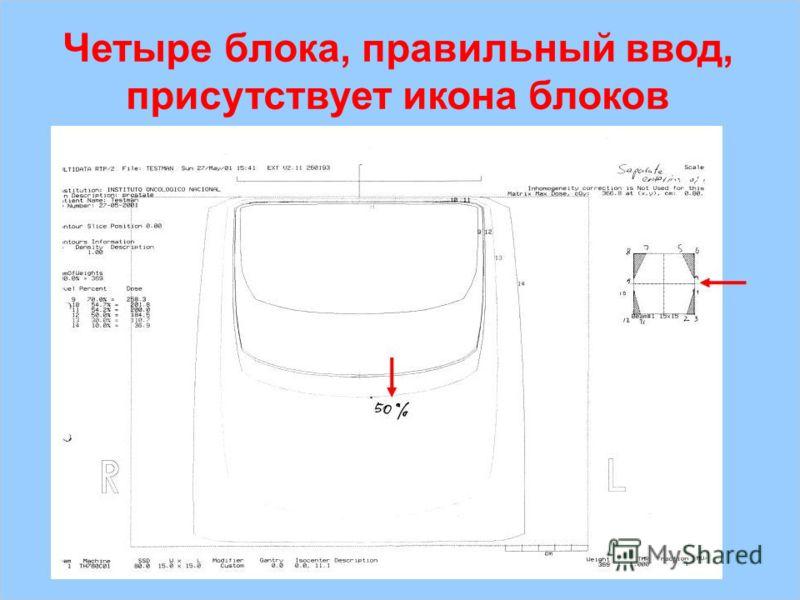 IAEA Предотвращение ошибок в лучевой терапии32 Четыре блока, правильный ввод, присутствует икона блоков