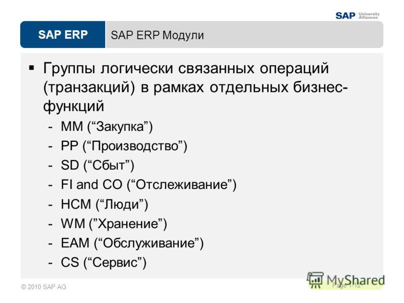 SAP ERP Page 1-12 © 2010 SAP AG SAP ERP Модули Группы логически связанных операций (транзакций) в рамках отдельных бизнес- функций -MM (Закупка) -PP (Производство) -SD (Сбыт) -FI and CO (Отслеживание) -НСМ (Люди) -WM (Хранение) -EAM (Обслуживание) -C