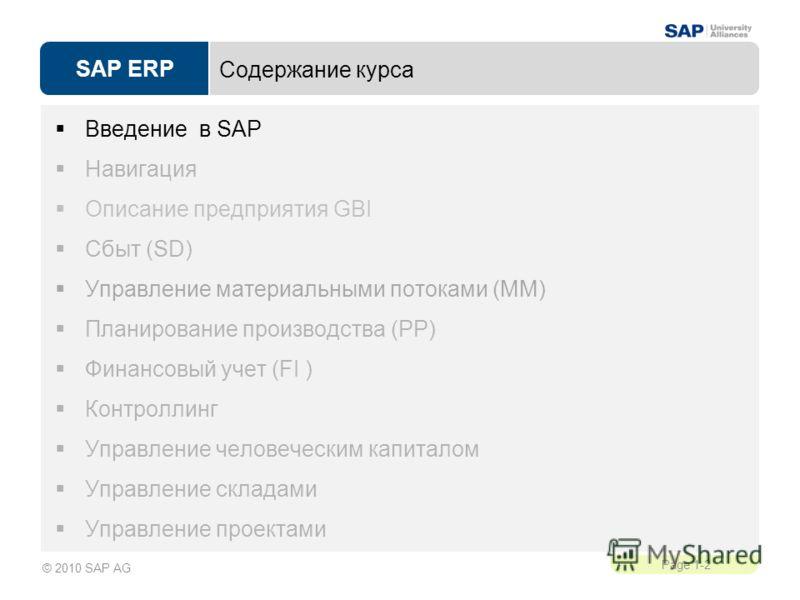 SAP ERP Page 1-2 © 2010 SAP AG Содержание курса Введение в SAP Навигация Описание предприятия GBI Сбыт (SD) Управление материальными потоками (MM) Планирование производства (PP) Финансовый учет (FI ) Контроллинг Управление человеческим капиталом Упра