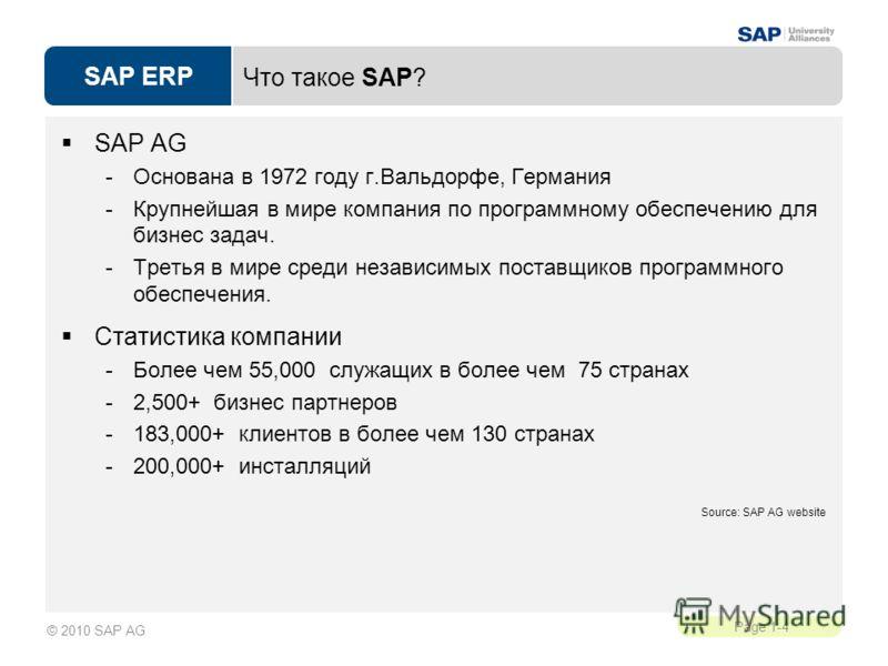 SAP ERP Page 1-4 © 2010 SAP AG Что такое SAP? SAP AG -Основана в 1972 году г.Вальдорфе, Германия -Крупнейшая в мире компания по программному обеспечению для бизнес задач. -Третья в мире среди независимых поставщиков программного обеспечения. Статисти