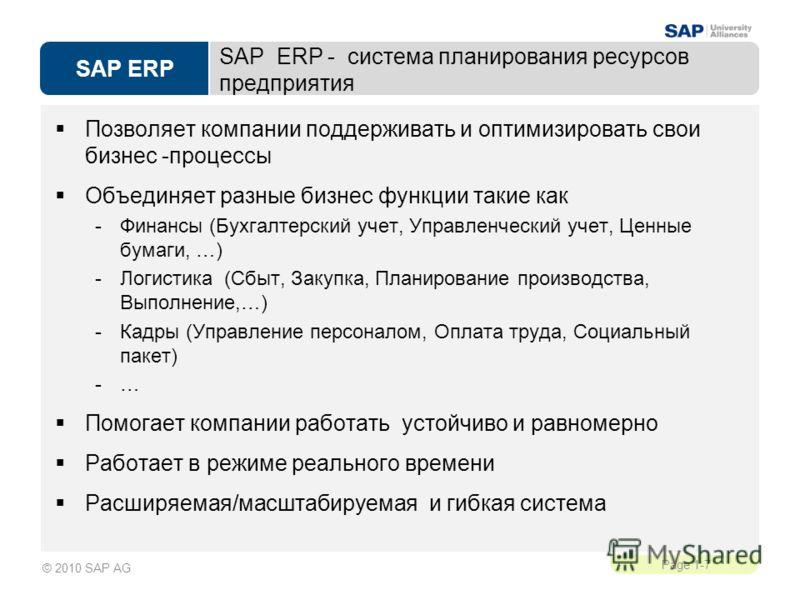 SAP ERP Page 1-7 © 2010 SAP AG SAP ERP - система планирования ресурсов предприятия Позволяет компании поддерживать и оптимизировать свои бизнес -процессы Объединяет разные бизнес функции такие как -Финансы (Бухгалтерский учет, Управленческий учет, Це