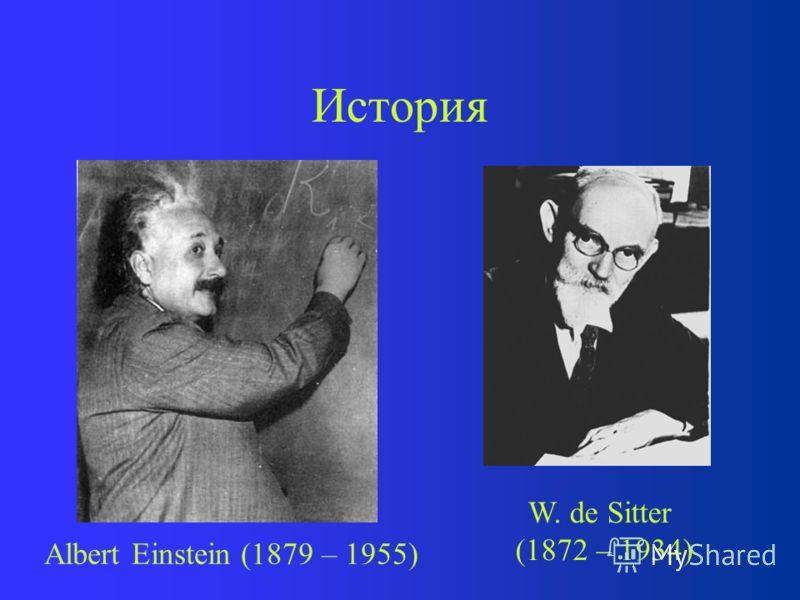 История В 1917 году А. Эйнштейн создает модель стационарной вселенной, дополняя урав- нения гравитационного поля « -членом» В 1917 году В. де Ситтер находит реше- ние для динамической пустой вселенной Закон Хаббла (1929 г.) соответствует ожиданиям ОТ
