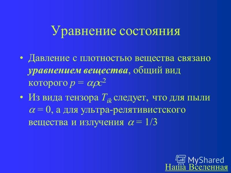 Тензор энергии-импульса Открытый вид тензора энергии-импульса для ультра-релятивистского вещества (в его системе отсчета): Для излучения (фотонов) T ik такой же!