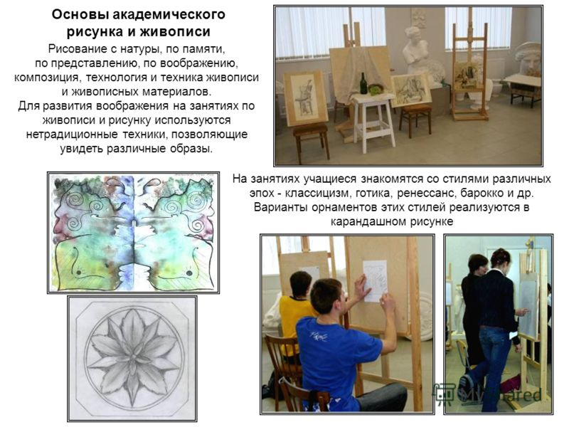 Основы академического рисунка и живописи Рисование с натуры, по памяти, по представлению, по воображению, композиция, технология и техника живописи и живописных материалов. Для развития воображения на занятиях по живописи и рисунку используются нетра