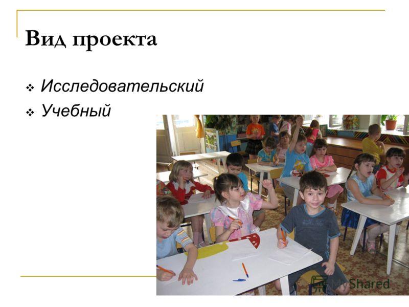 Исследовательский Учебный Вид проекта