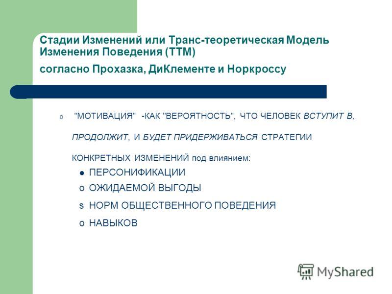 Стадии Изменений или Транс-теоретическая Модель Изменения Поведения (TTM) согласно Прохазка, ДиКлементе и Норкроссу o