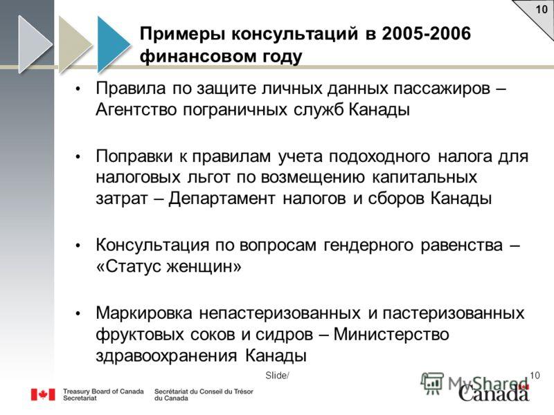 10 Slide/ Примеры консультаций в 2005-2006 финансовом году Правила по защите личных данных пассажиров – Агентство пограничных служб Канады Поправки к правилам учета подоходного налога для налоговых льгот по возмещению капитальных затрат – Департамент