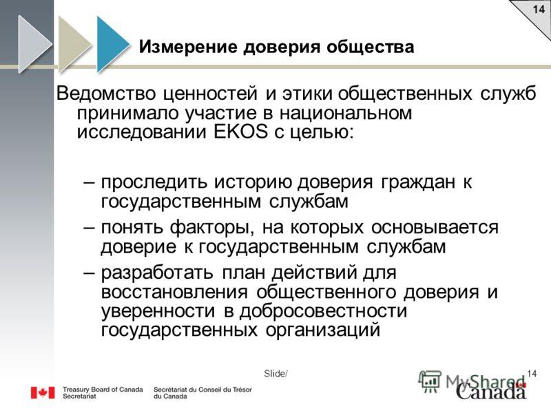 14 Slide/ Измерение доверия общества Ведомство ценностей и этики общественных служб принимало участие в национальном исследовании EKOS с целью: –проследить историю доверия граждан к государственным службам –понять факторы, на которых основывается дов