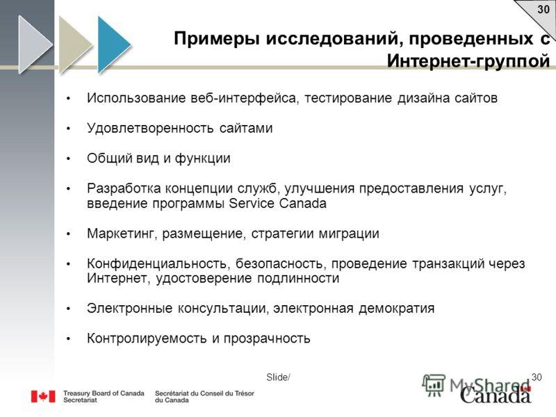 30 Slide/ Примеры исследований, проведенных с Интернет-группой Использование веб-интерфейса, тестирование дизайна сайтов Удовлетворенность сайтами Общий вид и функции Разработка концепции служб, улучшения предоставления услуг, введение программы Serv