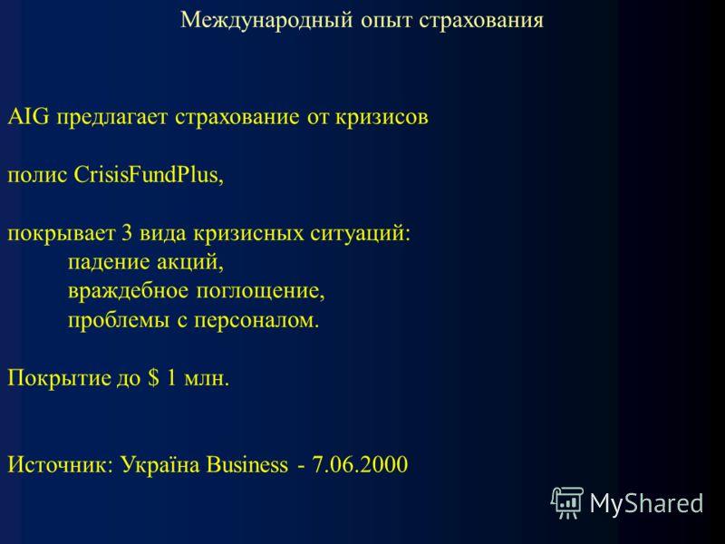Международный опыт страхования AIG предлагает страхование от кризисов полис CrisisFundPlus, покрывает 3 вида кризисных ситуаций: падение акций, враждебное поглощение, проблемы с персоналом. Покрытие до $ 1 млн. Источник: Україна Business - 7.06.2000