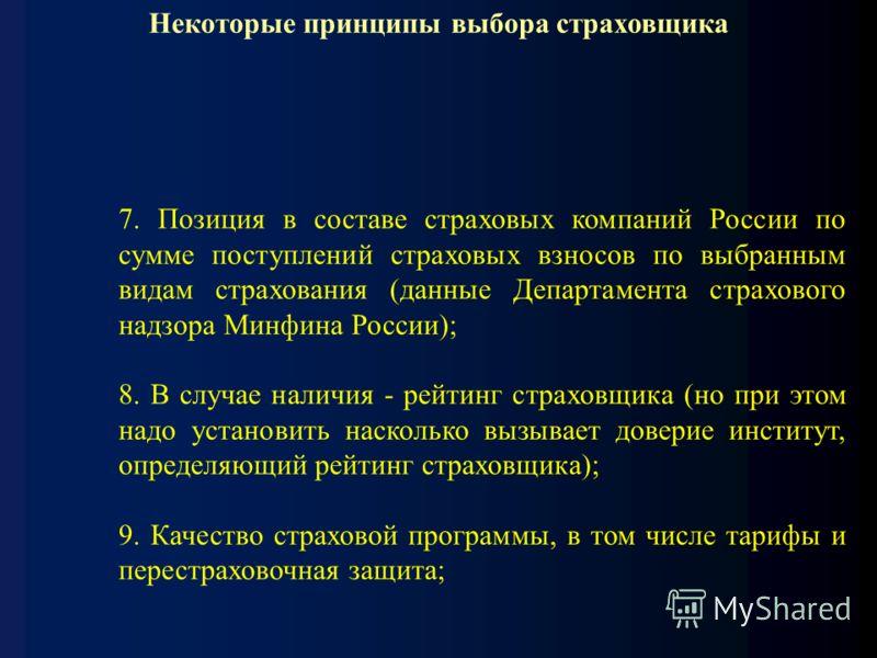 Некоторые принципы выбора страховщика 7. Позиция в составе страховых компаний России по сумме поступлений страховых взносов по выбранным видам страхования (данные Департамента страхового надзора Минфина России); 8. В случае наличия - рейтинг страховщ