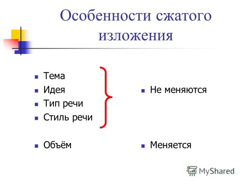 Особенности сжатого изложения Тема Идея Тип речи Стиль речи Объём Не меняются Меняется