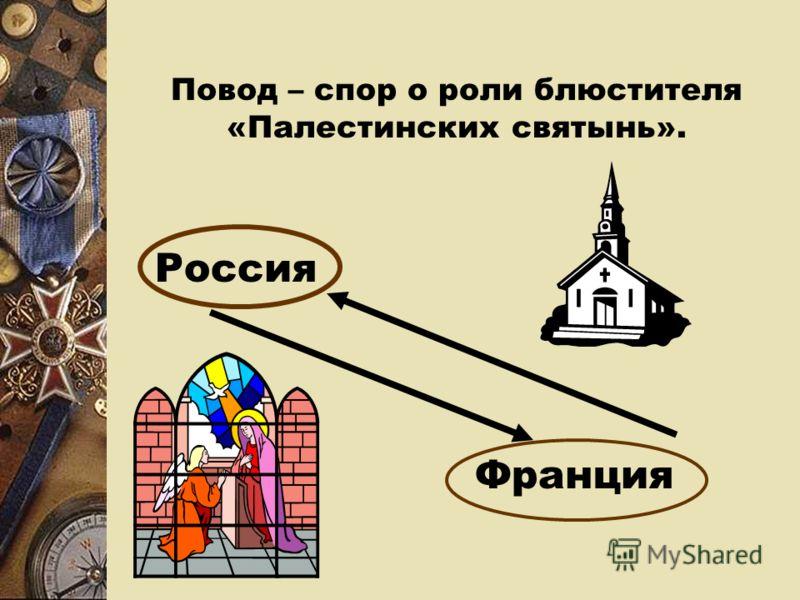 Повод – спор о роли блюстителя «Палестинских святынь». Россия Франция