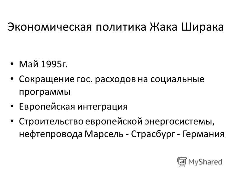 Экономическая политика Жака Ширака Май 1995г. Сокращение гос. расходов на социальные программы Европейская интеграция Строительство европейской энергосистемы, нефтепровода Марсель - Страсбург - Германия