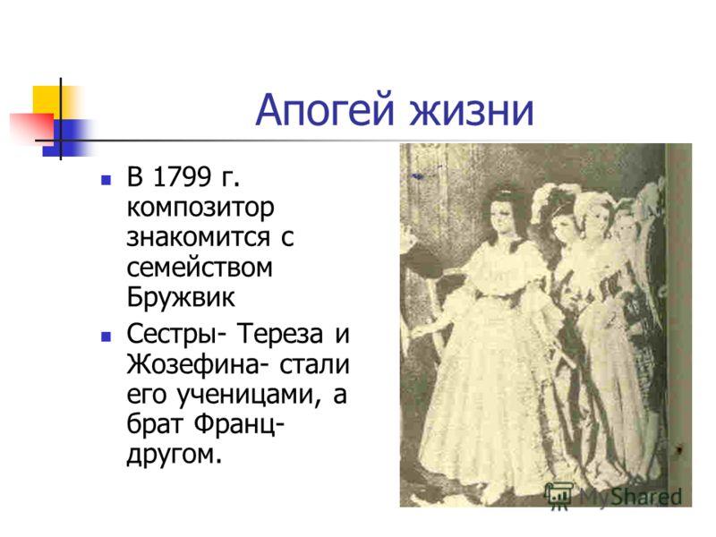 Апогей жизни В 1799 г. композитор знакомится с семейством Бружвик Сестры- Тереза и Жозефина- стали его ученицами, а брат Франц- другом.