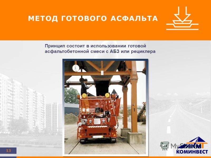 13 МЕТОД ГОТОВОГО АСФАЛЬТА Принцип состоит в использовании готовой асфальтобетонной смеси с АБЗ или рециклера
