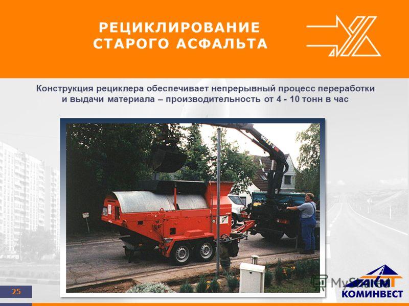 25 РЕЦИКЛИРОВАНИЕ СТАРОГО АСФАЛЬТА Конструкция рециклера обеспечивает непрерывный процесс переработки и выдачи материала – производительность от 4 - 10 тонн в час
