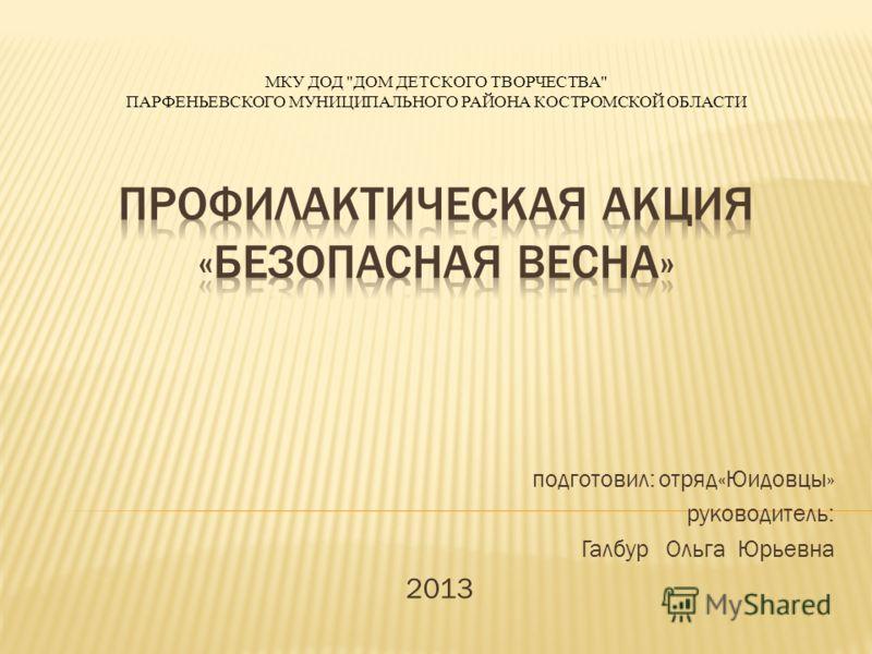 подготовил: отряд«Юидовцы» руководитель: Галбур Ольга Юрьевна 2013