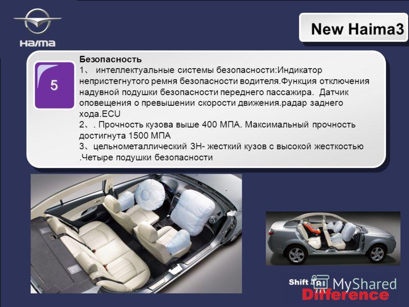 New Haima3 5 Безопасность 1 интеллектуальные системы безопасности:Индикатор непристегнутого ремня безопасности водителя.Функция отключения надувной подушки безопасности переднего пассажира. Датчик оповещения о превышении скорости движения.радар задне